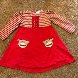 Size 2T girls dress with sock monkey pockets